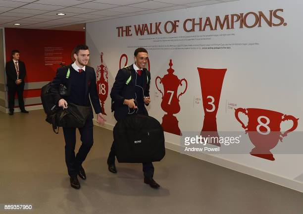Andrew Robertson and Trent AlexanderArnold of Liverpool arrives before the Premier League match between Liverpool and Everton at Anfield on December...