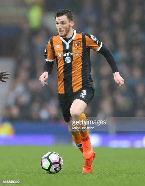 Andrew Robertson of Everton during the Premier League match between Everton and Hull City at Goodison Park on March 18 2017 in Liverpool England