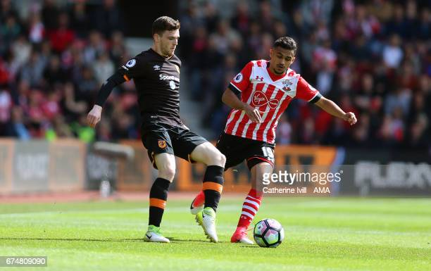 Andrew Robertson of Hull City and Sofiane Boufal of Southampton during the Premier League match between Southampton and Hull City at St Mary's...
