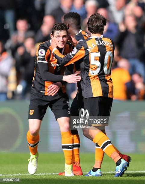 Andrew Robertson of Hull City celebrates scoring his sides first goal with Lazar Markovic of Hull City during the Premier League match between Hull...