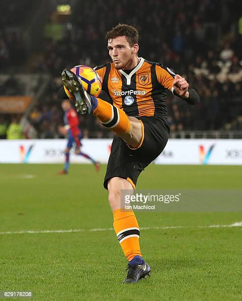Andrew Robertson of Hull City controls the ball during the Premier League match between Hull City and Crystal Palace at KC Stadium on December 10...