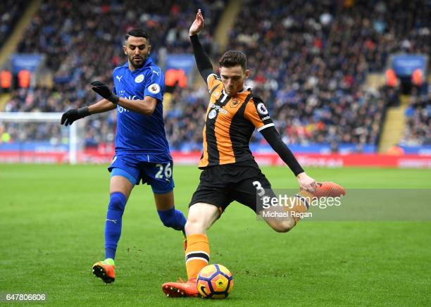 Andrew Robertson of Hull City crosses the ball during the Premier League match between Leicester City and Hull City at The King Power Stadium on...