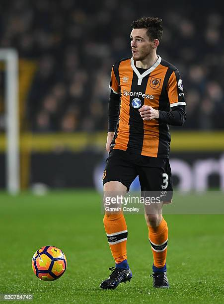 Andrew Robertson of Hull City during the Premier League match between Hull City and Everton at KC Stadium on December 30 2016 in Hull England