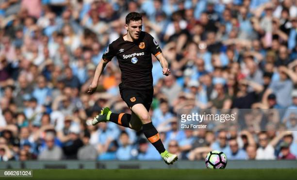 Andrew Robertson of Hull in action during the Premier League match between Manchester City and Hull City at Etihad Stadium on April 8 2017 in...