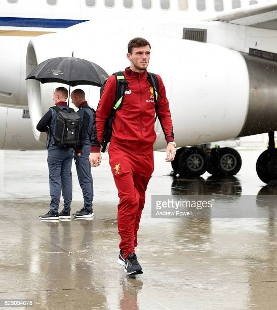 Andrew Robertson of Liverpool arriving at Munich International Airport for the pre season training camp on July 26 2017 in Munich Germany