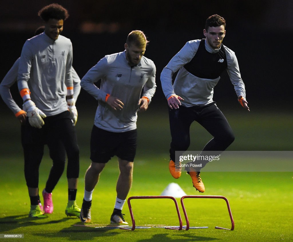 Andrew Robertson of Liverpool during a Liverpool training session at Melwood Training Ground on October 31, 2017 in Liverpool, England.