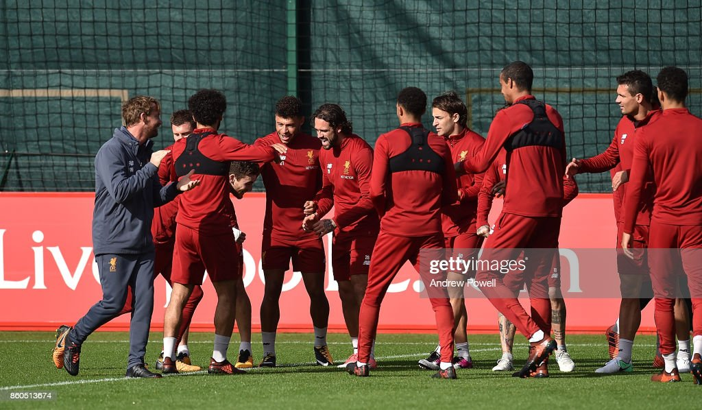 Andrew Robertson of Liverpool during a training session at Melwood Training Ground on October 12, 2017 in Liverpool, England.