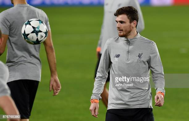 Andrew Robertson of Liverpool during a training session at the Ramon Sanchez Pizjuan Stadium on November 20 2017 in Seville Spain