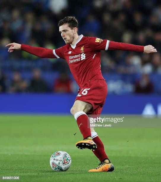 Andrew Robertson of Liverpool in action during the Carabao Cup Third Round match between Leicester City and Liverpool at The King Power Stadium on...