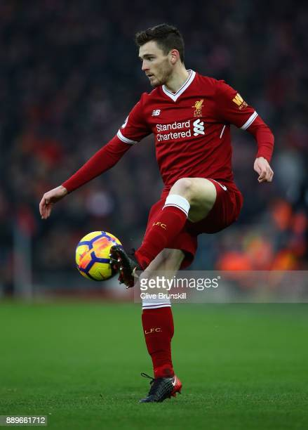Andrew Robertson of Liverpool in action during the Premier League match between Liverpool and Everton at Anfield on December 10 2017 in Liverpool...