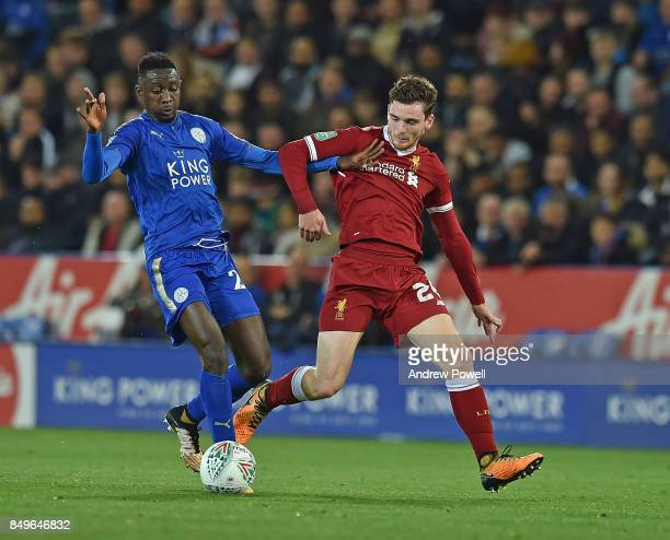 Andrew Robertson of Liverpool with Daniel Amartey of Liecester during the Carabao Cup third round match between Leicester City and Liverpool at The...