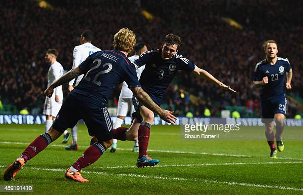 Andrew Robertson of Scotland celebrates scoring their first goal during the International Friendly between Scotland and England at Celtic Park...