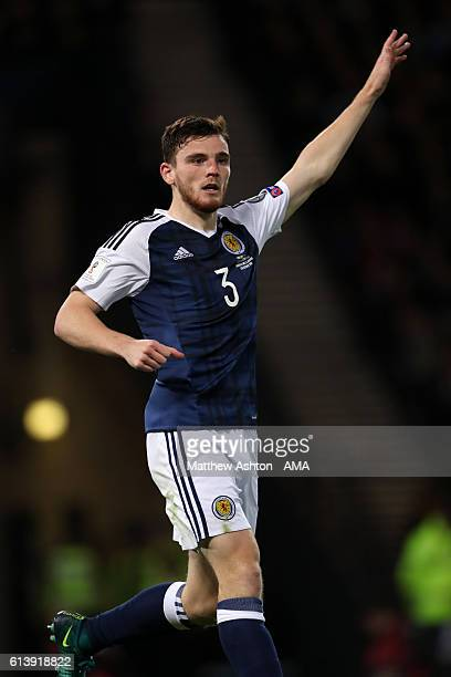 Andrew Robertson of Scotland during the FIFA 2018 World Cup Qualifier between Scotland and Lithuania at Hampden Park on October 8 2016 in Glasgow...
