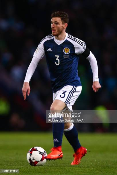 Andrew Robertson of Scotland during the FIFA 2018 World Cup Qualifier between Scotland and Slovenia at Hampden Park on March 26 2017 in Glasgow...