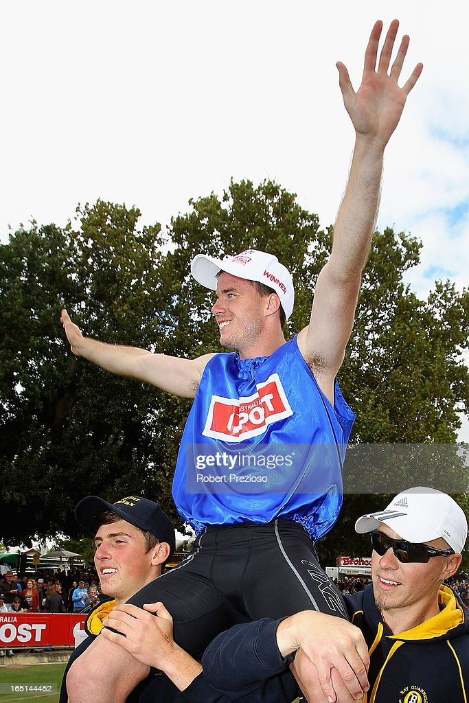 Andrew Robinson of Tasmania celebrates winning the Australia Post Stawell Gift 120m Final during the 2013 Stawell Gift carnival at Central Park on April 1, 2013 in Stawell, Australia.