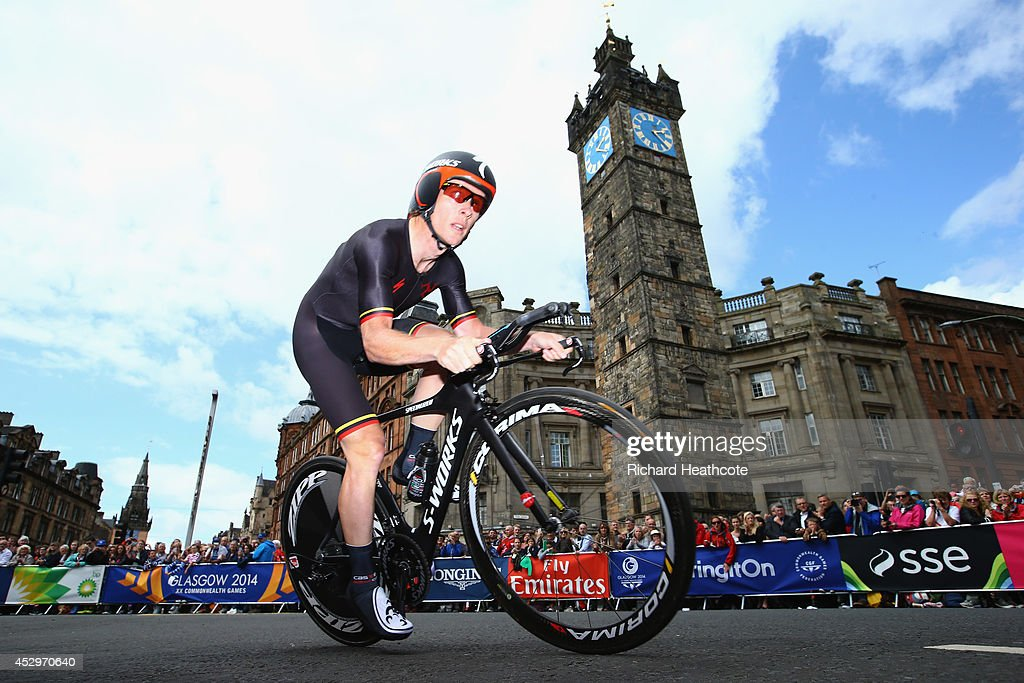 Andrew Roche of the Isle of Man goes past The Tolbooth during the Men's individual time trial during day eight of the Glasgow 2014 Commonwealth Games...
