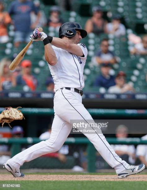 Andrew Romine of the Detroit Tigers bats against the Cleveland Indians at Comerica Park on July 2 2017 in Detroit Michigan