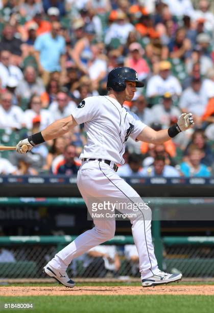 Andrew Romine of the Detroit Tigers bats during the game against the Kansas City Royals at Comerica Park on June 29 2017 in Detroit Michigan The...