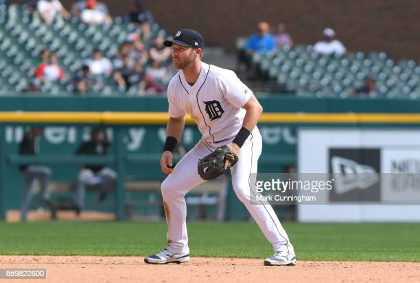 Andrew Romine of the Detroit Tigers fields during the game against the Chicago White Sox at Comerica Park on September 14 2017 in Detroit Michigan...