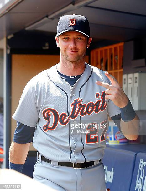 Andrew Romine of the Detroit Tigers looks on before a game against the New York Yankees at Yankee Stadium on August 7 2014 in the Bronx borough of...