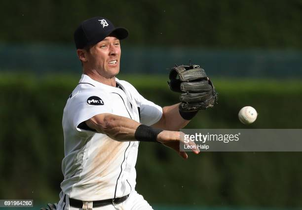 Andrew Romine of the Detroit Tigers makes the throw to first base during the seventh inning of the game against the Chicago White Sox on June 3 2017...