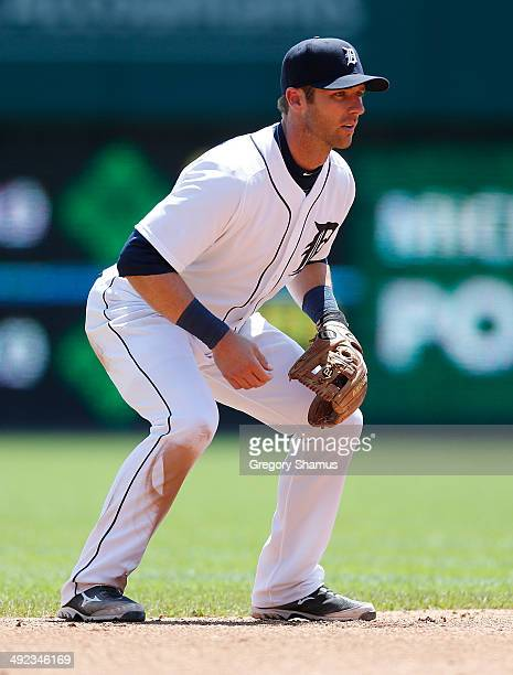 Andrew Romine of the Detroit Tigers plays the field during the game against the Minnesota Twins at Comerica Park on May 10 2014 in Detroit Michigan
