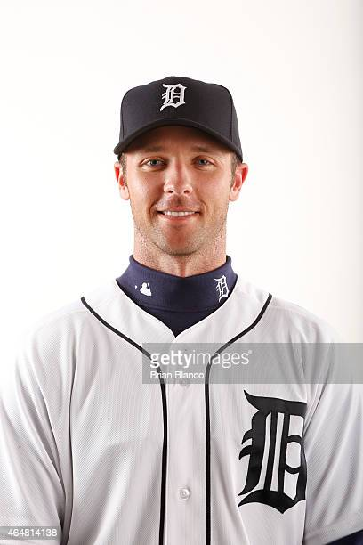 Andrew Romine of the Detroit Tigers poses for a photo during the Tigers' photo day on February 28 2015 at Joker Marchant Stadium in Lakeland Florida