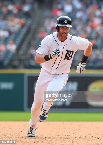 Andrew Romine of the Detroit Tigers runs the bases during the game against the Kansas City Royals at Comerica Park on September 4 2017 in Detroit...