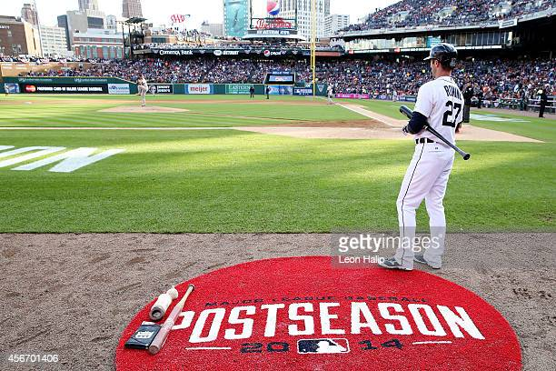Andrew Romine of the Detroit Tigers stands on deck during Game Three of the American League Division Series against the Baltimore Orioles at Comerica...