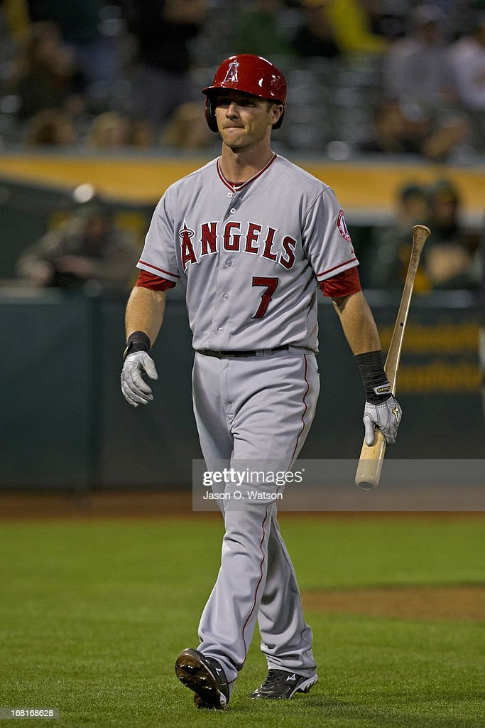 Andrew Romine #7 of the Los Angeles Angels of Anaheim returns to the dugout after striking out against the Oakland Athletics during the eighteenth inning at O.co Coliseum on April 30, 2013 in Oakland, California. The Oakland Athletics defeated the Los Angeles Angels of Anaheim 10-8 in 19 innings.