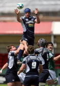 Andrew Rose of Scotland wins the lineout during the IRB Junior World Championships game between Ireland and Scotland on June 22 2008 at Rodney Parade...