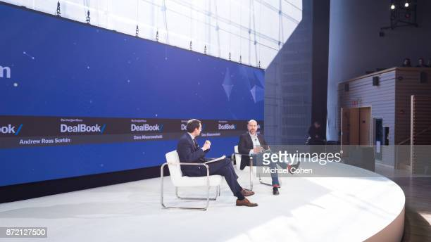 Andrew Ross Sorkin and Dara Khosrowshahi speak onstage at The New York Times 2017 DealBook Conference at Jazz at Lincoln Center on November 9 2017 in...