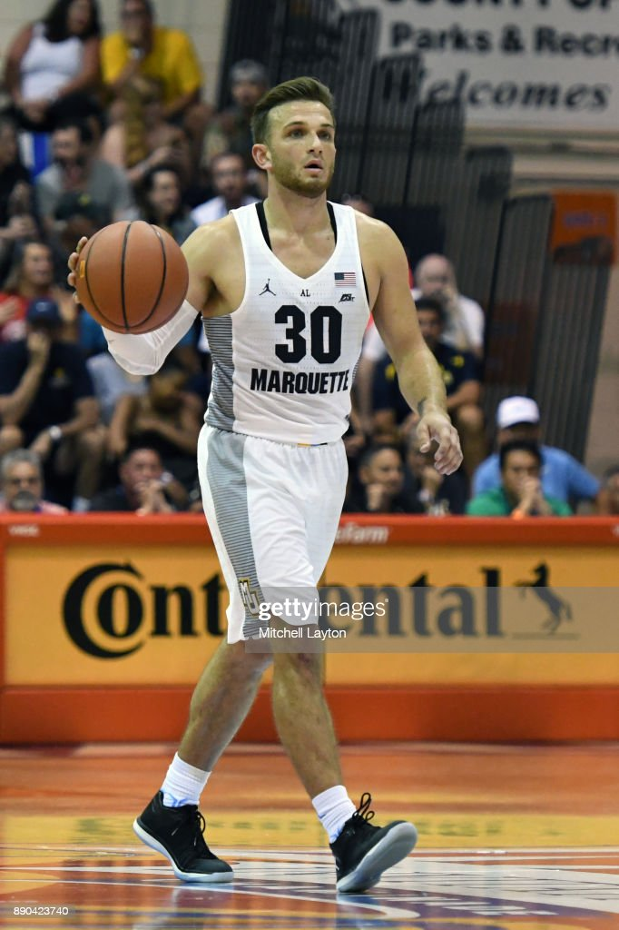 Andrew Rowsey #30 of the Marquette Golden Eagles dribbles up court during a consultation college basketball game at the Maui Invitational against the LSU Tigers at the Lahaina Civic Center on November 22, 2017 in Lahaina, Hawaii. The Golden Eagles won 94-84.