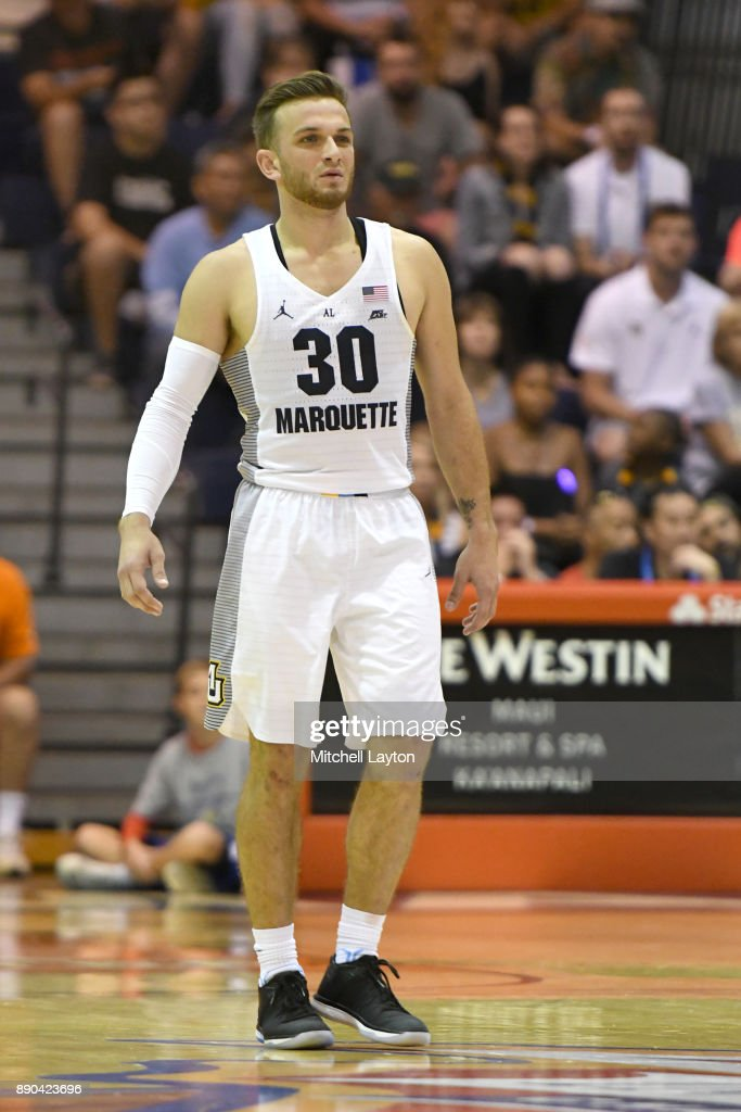Andrew Rowsey #30 of the Marquette Golden Eagles looks on during a consultation college basketball game at the Maui Invitational against the LSU Tigers at the Lahaina Civic Center on November 22, 2017 in Lahaina, Hawaii. The Golden Eagles won 94-84.