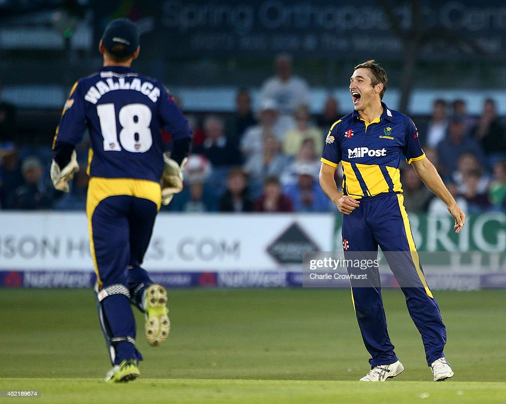 Andrew Salter of Glamorgan celebrates after taking the wicket of Luke Wright of Sussex during the Natwest T20 Blast match between Sussex Sharks and Glamorgan at The BrightonAndHoveJobs.com County Ground on July 15, 2014 in Hove, England.