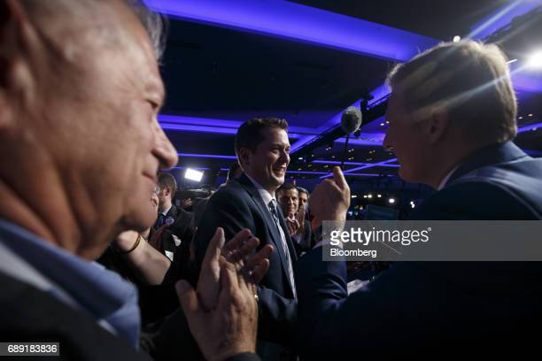 Andrew Scheer leader of Canada's Conservative Party center greets attendees after being named the party's next leader during the Conservative Party...