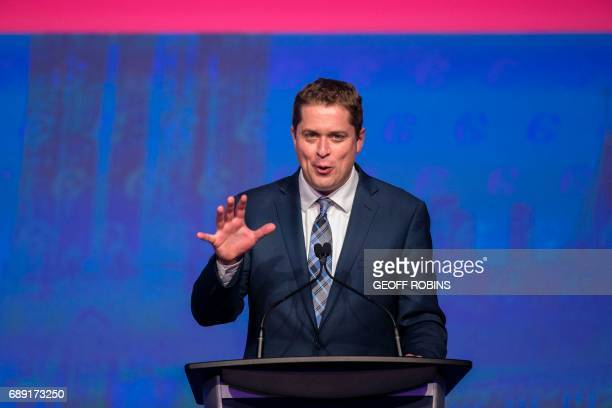 Andrew Scheer newly elected leader of the Conservative Party of Canada speaks at the party's convention in Toronto Ontario May 27 2017 / AFP PHOTO /...
