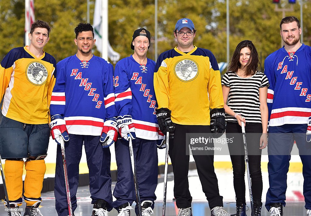 Andrew Schulz, Emerson Etem, Antti Raanta, Mark Gessner, Lindsey Broad and Dylan McIlrath attend the New York Rangers and the Cast of IFCÕs Hockey Comedy Benders Face Off event at Lasker Rink on October 29, 2015 in New York City.