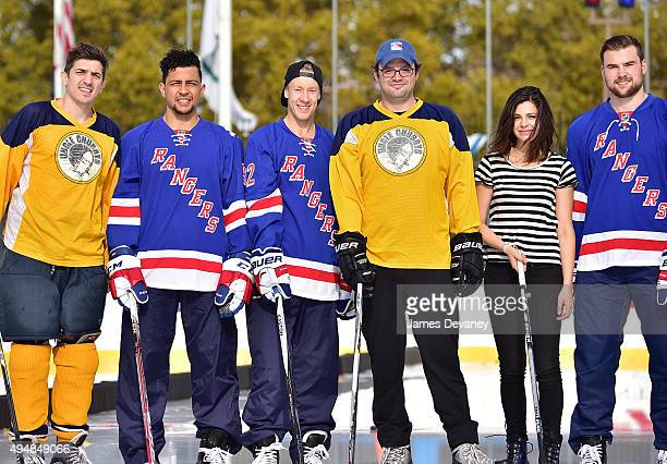 Andrew Schulz Emerson Etem Antti Raanta Mark Gessner Lindsey Broad and Dylan McIlrath attend the New York Rangers and the Cast of IFC��s Hockey...
