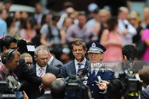 Andrew Scipione the Commissioner of the New South Wales Police Force speaks to the media on December 17 2014 in Sydney Australia Sydney siege gunman...