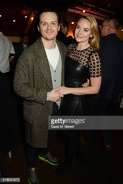Andrew Scott and Joanna Vanderham attend the press night performance of 'Bug' at Found111 on March 29 2016 in London England