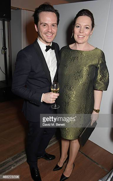 Andrew Scott and Olivia Colman attend Fast Forward The National Theatre's fundraising gala at The National Theatre on March 4 2015 in London England
