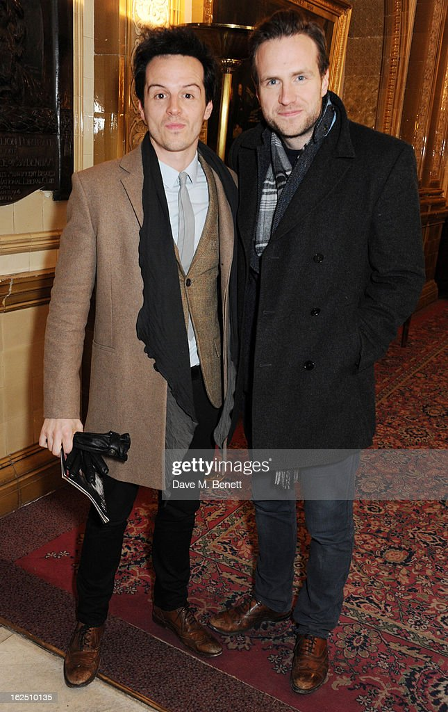 Andrew Scott and <a gi-track='captionPersonalityLinkClicked' href=/galleries/search?phrase=Rafe+Spall&family=editorial&specificpeople=2153488 ng-click='$event.stopPropagation()'>Rafe Spall</a> attend the 'Macbeth' after party at One Whitehall Place on February 22, 2013 in London, England.