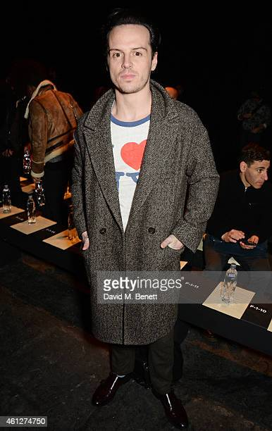 Andrew Scott attends the front row at the Oliver Spencer show during London Collections Men AW15 at The Old Sorting Office on January 10 2015 in...