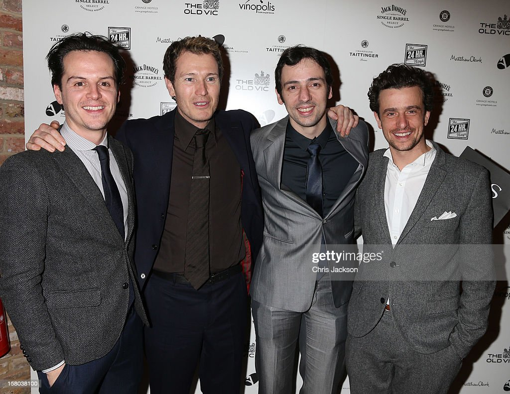 Andrew Scott, Nick Moran, Ralf Little and Hamish Jenkinson attend the post-show party, The 25th Hour, following The Old Vic's 24 Hour Musicals Celebrity Gala 2012 during which guests drank Jack Daniels Single Barrel, Curtain Raiser cocktails in The Great Halls, Vinopolis, Borough on December 9, 2012 in London, England.