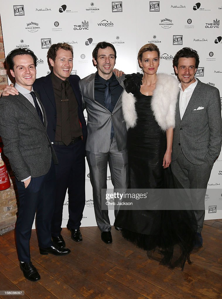 Andrew Scott, Nick Moran, Ralf Little, Natalie McElhone and Hamish Jenkinson attend the post-show party, The 25th Hour, following The Old Vic's 24 Hour Musicals Celebrity Gala 2012 during which guests drank Jack Daniels Single Barrel, Curtain Raiser cocktails in The Great Halls, Vinopolis, Borough on December 9, 2012 in London, England.