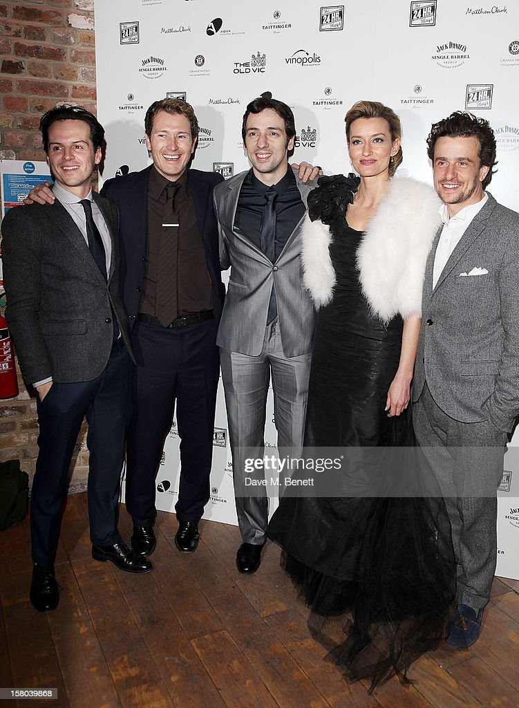 Andrew Scott, <a gi-track='captionPersonalityLinkClicked' href=/galleries/search?phrase=Nick+Moran&family=editorial&specificpeople=221364 ng-click='$event.stopPropagation()'>Nick Moran</a>, <a gi-track='captionPersonalityLinkClicked' href=/galleries/search?phrase=Ralf+Little&family=editorial&specificpeople=215197 ng-click='$event.stopPropagation()'>Ralf Little</a>, <a gi-track='captionPersonalityLinkClicked' href=/galleries/search?phrase=Natascha+McElhone&family=editorial&specificpeople=204753 ng-click='$event.stopPropagation()'>Natascha McElhone</a> and Hamish Jenkinson attend an after party celebrating the 24 Hour Musicals Gala Performance at Vinopolis on December 9, 2012 in London, England.