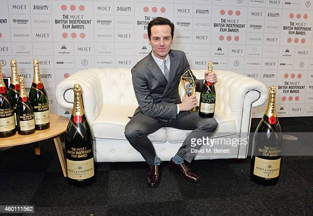 Andrew Scott winner of the Best Supporting Actor award for 'Pride' poses at The Moet British Independent Film Awards 2014 at Old Billingsgate Market...
