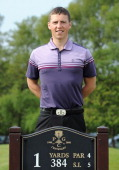 Andrew Scrimshaw of Close House Golf Club poses for a photograph after winning the Powerade PGA Assistants' Championship Regional Qualifier at...