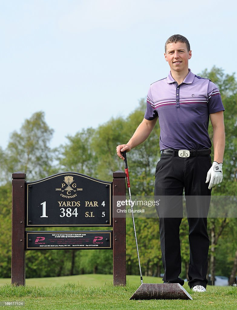 Andrew Scrimshaw of Close House Golf Club poses for a photograph after winning the Powerade PGA Assistants' Championship Regional Qualifier at Penwortham Golf Club on May 20, 2013 in Preston, England.